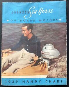 Johnson Sea Horse Outboard Motor Boats Waukegan Il 1939 Handy Chart Advertisemen Ebay
