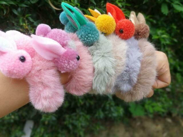 Woman Hair Tie Knotted Rabbit Ponytail Fluffy 10 PCS | eBay