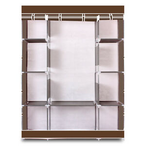US Portable Closet Storage Organizer Wardrobe Clothes Rack With Shelves Coffee