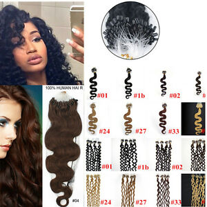 100-200S-20Inch-Wavy-amp-curly-Loop-Micro-Rings-Beads-Remy-Human-Hair-Extensions