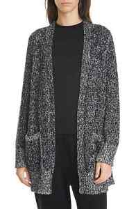 Eileen Fisher Womens Sweater Black Size Medium M Open Front Cardigan $378- 209