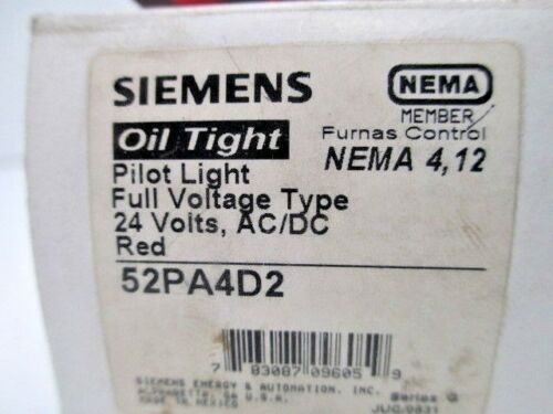 SIEMENS RED PILOT LIGHT 24 VOLT 52PA4D2 NEW IN PACKAGE ELECTRICAL OIL TIGHT