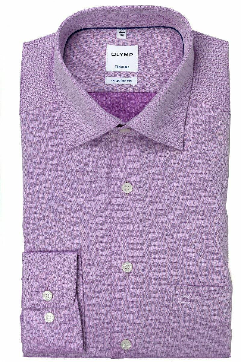 Magenta Patterned Spread Collar