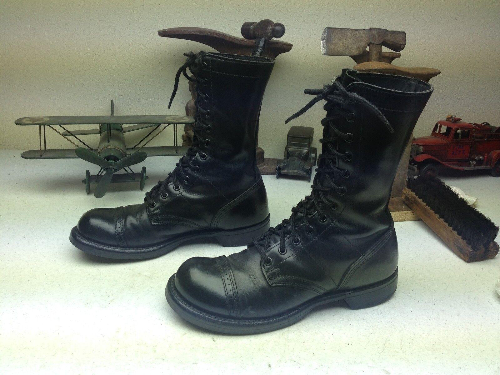 CORCORAN De Cuero Negro Made in USA Military Paracaidista Combate Ejército botas botas 7.5 D