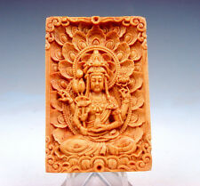 Wooden Detailed Carved Pendant Sculpture 4-Arms Kwan-Yin Buddha & Floral #081217