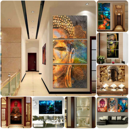 Buddha Religious Meditation 3 Pcs Canvas Home Decor Wall Poster Painting Picture