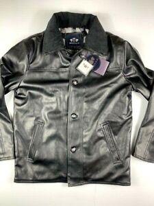 EMPORIO-amp-CO-Mens-Italian-Leather-Jacket-Coat-Size-S-Black