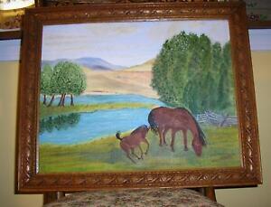 VINTAGE EQUESTRIAN BROWN HORSES MOM COLT FOAL STREAM PASTURE LANDSCAPE PAINTING