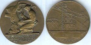 Medaille-de-table-Electricite-gaz-de-France-P-BONNIN-bronze-poincon-triang