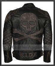 Men's Biker Distressed Black Speed Metal Skull Embossed Rider Leather Jacket