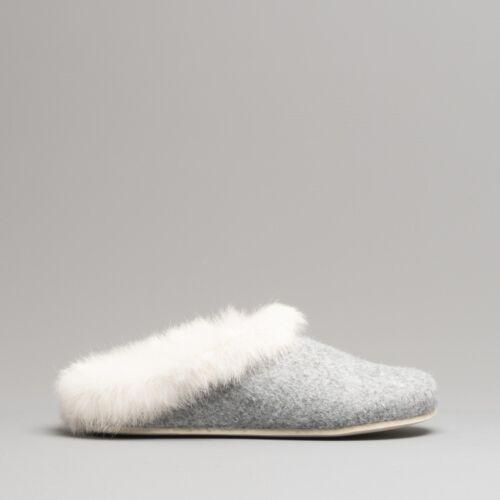 FLUFFYS Holly Femme Feutre Upper Soft fur Cuff Slip On Mule Chaussons Gris