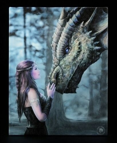 Kleine Leinwand Once Upon A Time by Anne Stokes Drache Fantasy Bild