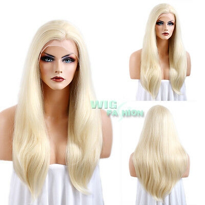 """24"""" Heat Resistant Long Straight Light Blonde Lace Front Synthetic Wig"""