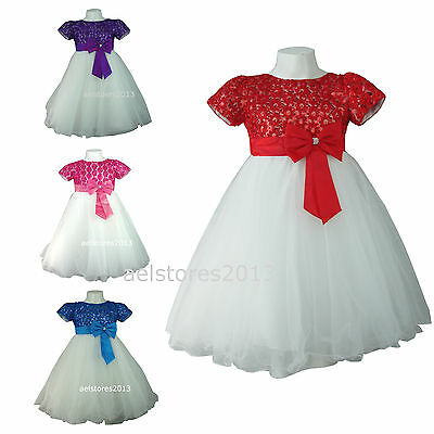 New Girls Bridesmaid Wedding Party Flower Formal Bow Dress Age 2 4 6 8 10 years