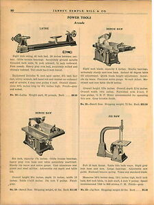 1940-AD-2-Page-Arcade-Woodworking-Power-Tools-Lathe-Bench-Saw-Jig-Saw