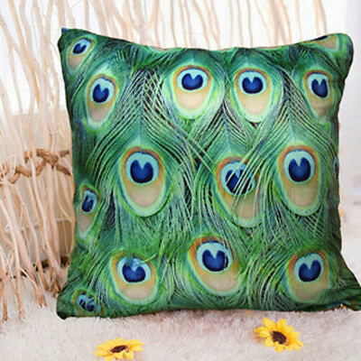 "Elegant Peacock feather design throw pillow / cushion cover 18""x18"" Square Shell"