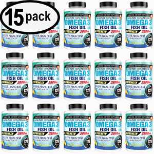 Ultra Pure Omega 3 Fish Oil 3000mg Potent, Joint Pain Relief  XL 120ct (15 PACK)
