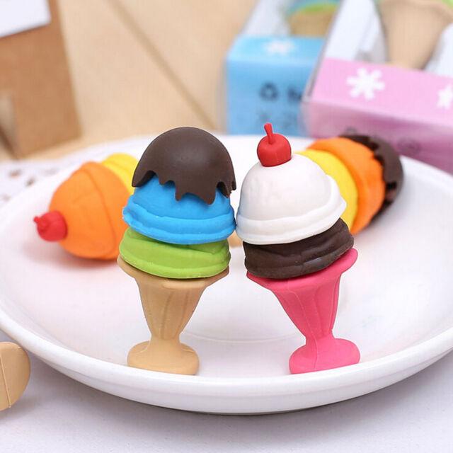 Cute Cartoon Ice Cream Style Eraser Soft Rubber Kids Stationery Random Color  GV