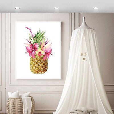 Printed Watercolour Tropical Floral Pineapple wall Print,girls wall print