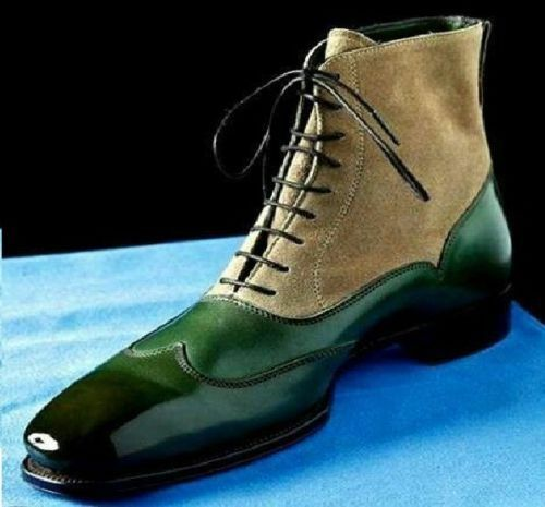 MEN HANDMADE CAP TOE BOOTS ANKLE HIGH CASUAL GREEN BEIGE LEATHER SHOES