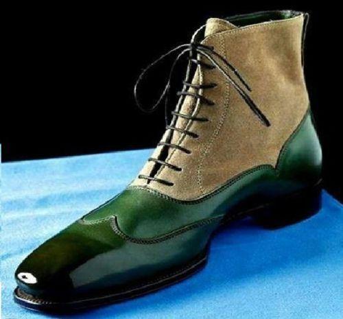 Los últimos zapatos de descuento para hombres y mujeres De hombre hecho a mano Puntera Botas de tobillo alto zapatos informales de cuero beige verde