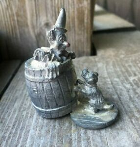Details about Vintage Pewter Clown With Dog Figurine - Small - Unmarked