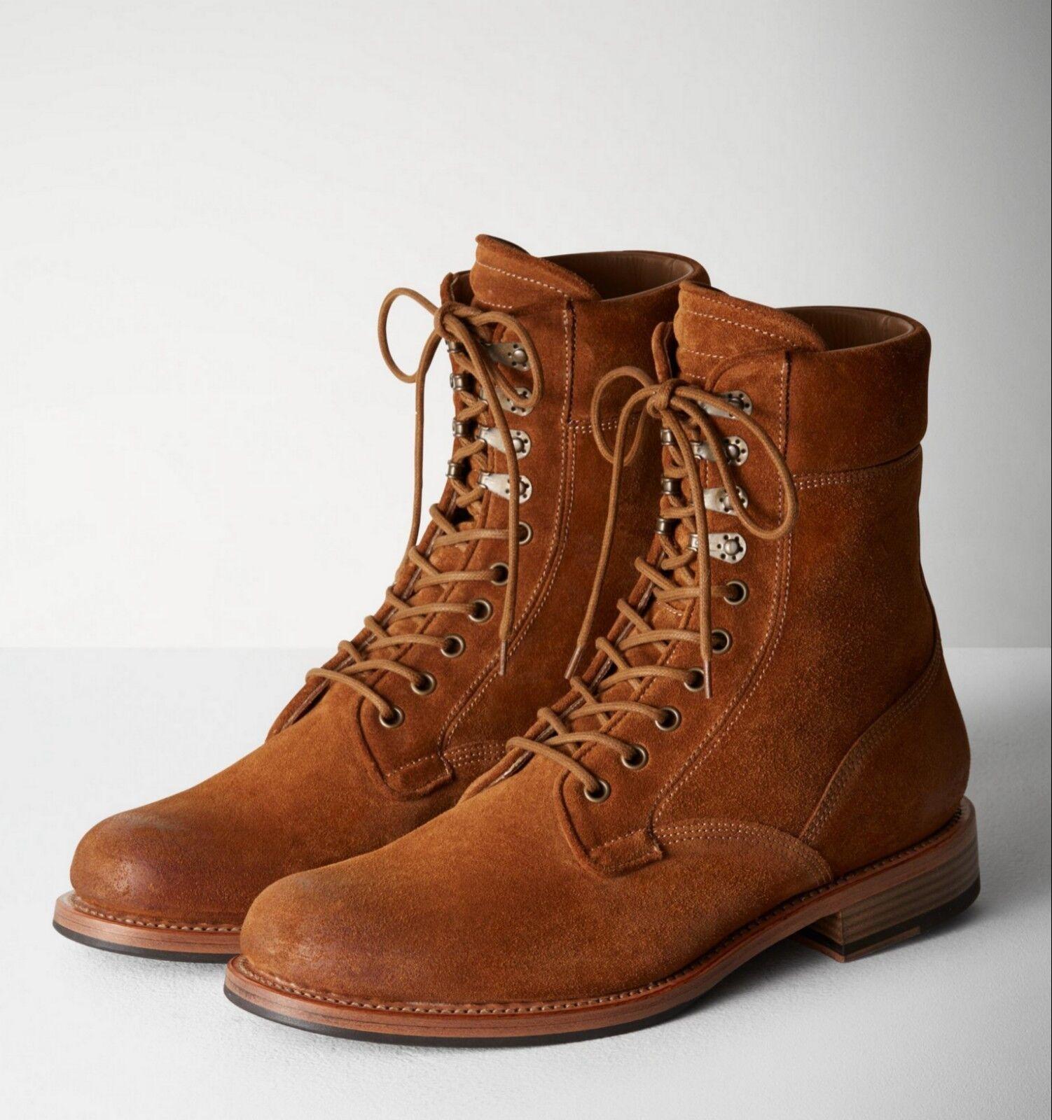 Nuevo Coñac Suede  Rag & Bone   Zapato De Gamuza Spencer Bota Militar