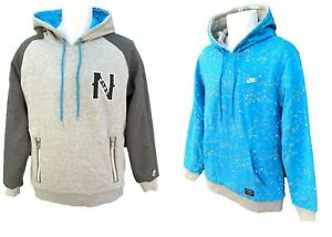 NEU-Nike-SPORTSWEAR-NSW-Heavy-Cotton-Fleece-Reversible-Hoodie-grau-tuerkis-L