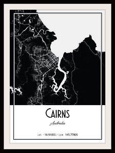 CAIRNS CITY MAP POSTER PRINT MODERN CONTEMPORARY CITIES TRAVEL IKEA FRAMES