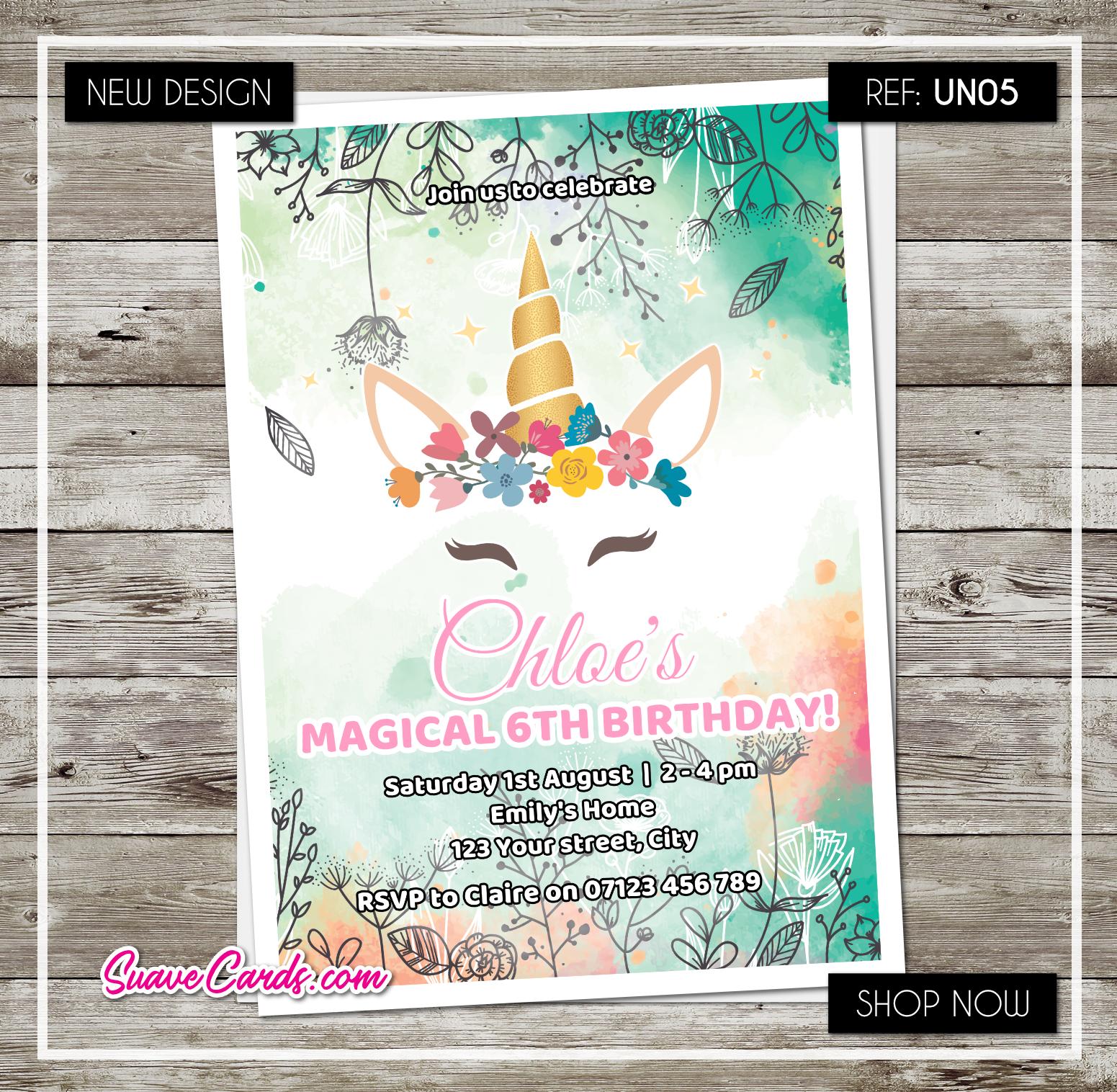 Licorne Fête D'Anniversaire Invitations personnalisé couronne invite shower ou baby shower invite 441d04