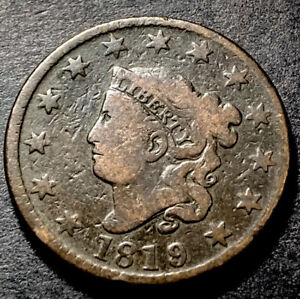 1819/8 Coronet Head Large Cent 1c Overdate Mint Error Nice Type Coin