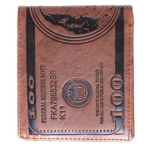 Fashion US Dollar Bill Wallet Brown PU Leather Wallet Bifold Credit Card Photo I