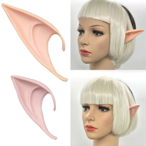 Latex Fairy Pixie Elf Ears Cosplay Halloween Party Pointed Prosthetic Tips Ear
