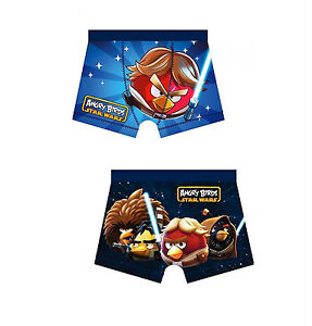 1 x Pair Age 5-6 Official Star Wars Angry Birds Luke Chil/'ds Boxer Shorts