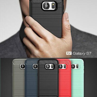 Shockproof Brush Rugged Fiber Soft Rubber Skin slim Back Case Cover For Samsung