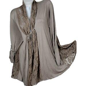 Mujer-Estilo-De-Capas-Encaje-Blusa-Tunica-Chaqueta-Bolero-Camiseta-44-46-48-50-L