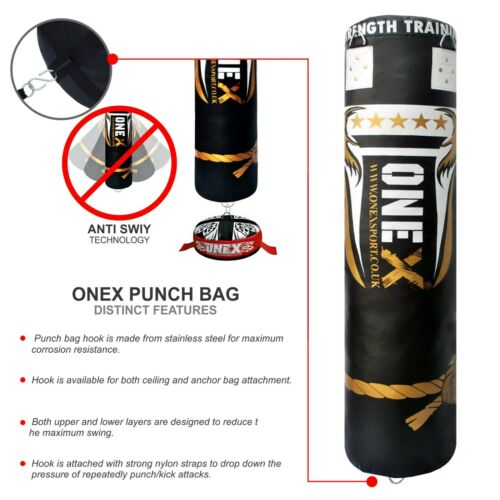 11pieces 5ft Punch Bag Set Training Heavy Boxing Gloves Bracket Chains MMA Pad