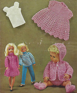 Dolls Clothes Knitting Crochet Pattern Sindy Tiny Tears 1553 Ebay