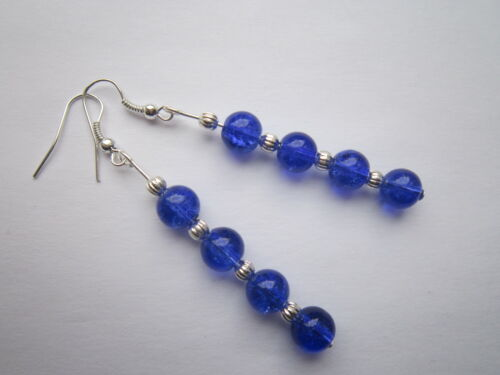 Long Drop Silver Plated Blue Crackle Beads Dangle Earrings