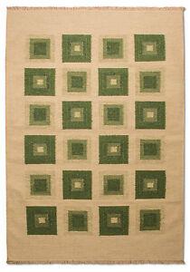 Morgenland-Tapis-kilim-mosaique-laine-patchwork-beige-vert-Tapis-tisse-main