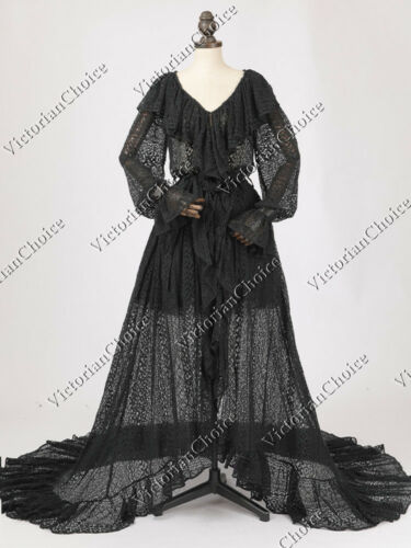 Victorian Nightgowns, Nightdress, Pajamas, Robes    Victorian Black Gothic Vintage Robe Dress Fantasy Witch Halloween Costume N C049 $217.00 AT vintagedancer.com