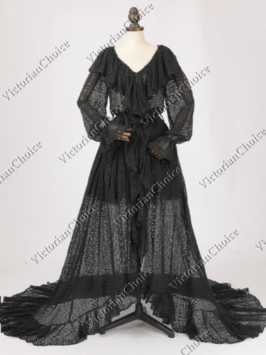 1900 Edwardian Dresses, Tea Party Dresses, White Lace Dresses    Victorian Black Gothic Vintage Robe Dress Fantasy Witch Halloween Costume N C049 $217.00 AT vintagedancer.com