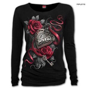 Spiral-Ladies-Black-Gothic-HEART-LOCKET-Rose-Key-L-Sleeve-Top-All-Sizes