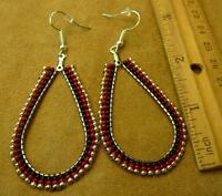 Native American Teardrop Hoop Beaded Sterling Silver Earrings