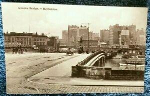 1900-039-s-postcard-Queens-Bridge-cobblestone-road-Central-Melbourne-Victoria