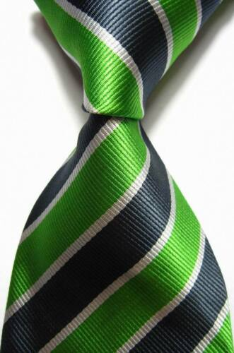 New Classic Stripes Green Gray Silver JACQUARD WOVEN 100/% Silk Men/'s Tie Necktie