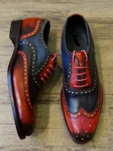 New-Handmade-Men-Classic-Brogue-Style-Wing-Tip-Leather-and-Suede-Formal-Shoes