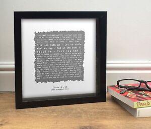 Personalised SONG Words Favourite POEM Custom QUOTE Print Framed Vintage Design