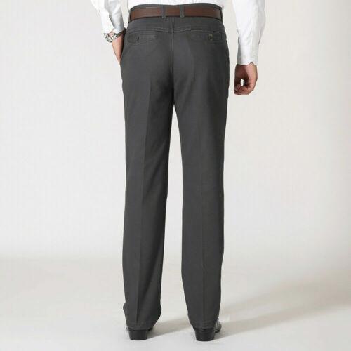 Men 100/% Cotton Office Trouser Straight Leg Casual Formal Smart Pants Solid Slim