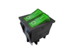 Interruttore-a-bilanciere-doppio-220V-16A-unipolare-tasto-verde-luminoso-32x25mm
